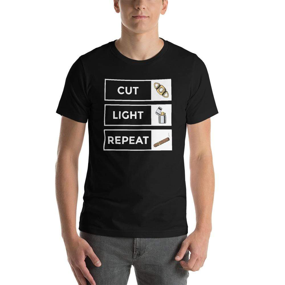mens cigar tshirts Black / XS Cut Light Repeat (v1)
