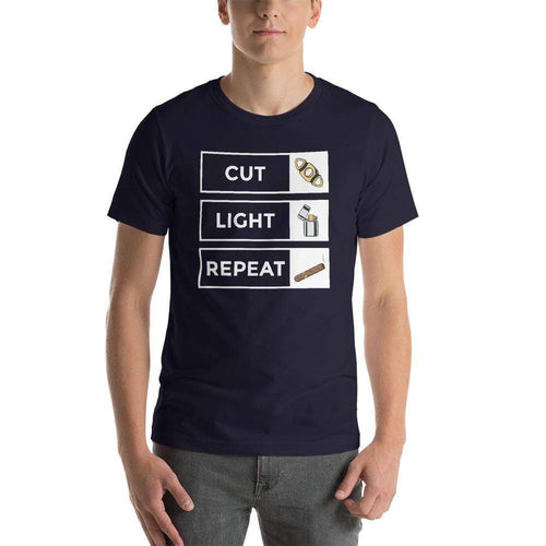 mens cigar tshirts Navy / XS Cut Light Repeat (v1)