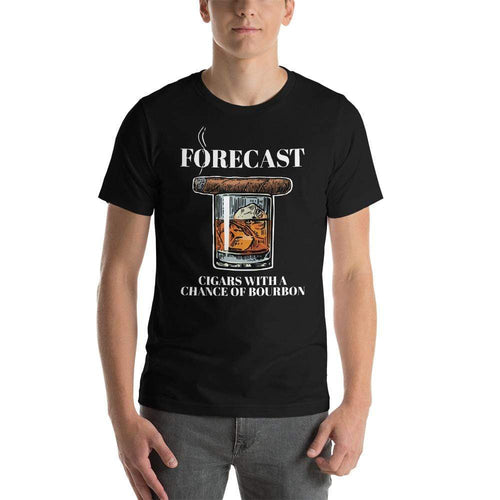 mens cigar tshirts Black / XS Forecast Cigars With A Chance Of Bourbon (v4)