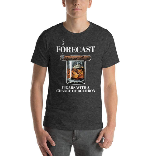 mens cigar tshirts Dark Grey Heather / XS Forecast Cigars With A Chance Of Bourbon (v4)