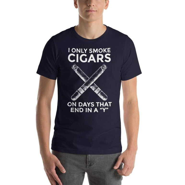 "mens cigar tshirts Navy / XS I Only Smoke Cigars On Days That End In A ""Y"" (v1)"