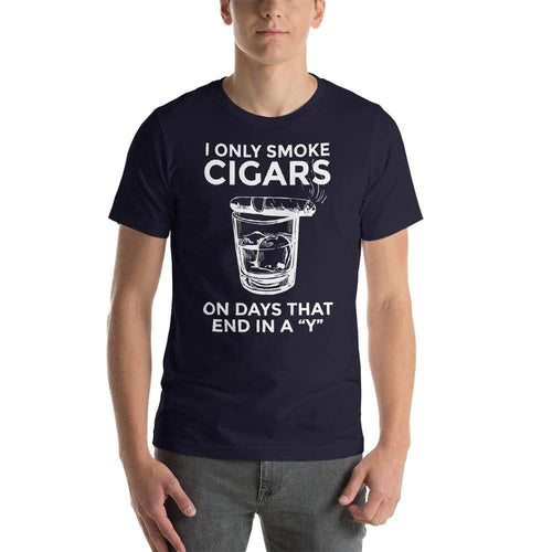 "mens cigar tshirts Navy / XS I Only Smoke Cigars On Days That End In A ""Y"" (v2)"