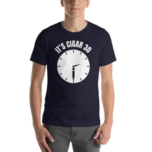 "mens cigar tshirts Navy / XS It's Cigar ""30"" - Clock (v1)"