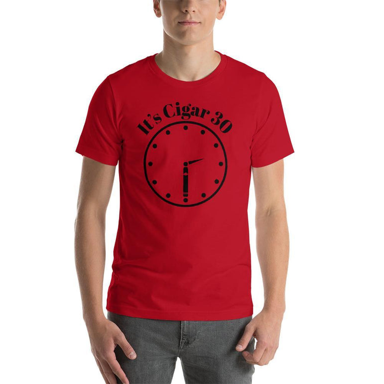 "mens cigar tshirts Red / S It's Cigar ""30"" - Clock (v2)"