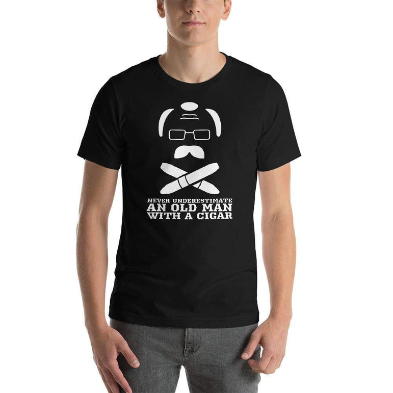 mens cigar tshirts Black / XS Never Underestimate An Old Man With A Cigar (v1)