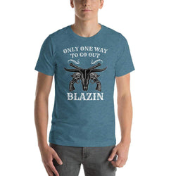 mens cigar tshirts Heather Deep Teal / S Only One Way To Go Out - Blazin (v2)