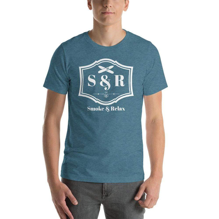 mens cigar tshirts Heather Deep Teal / S Smoke & Relax (v1)