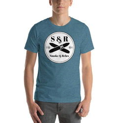 mens cigar tshirts Heather Deep Teal / S Smoke & Relax (v2)