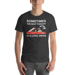 mens cigar tshirts Dark Grey Heather / XS Sometimes The Best Therapy Is A Long Drive (v1)