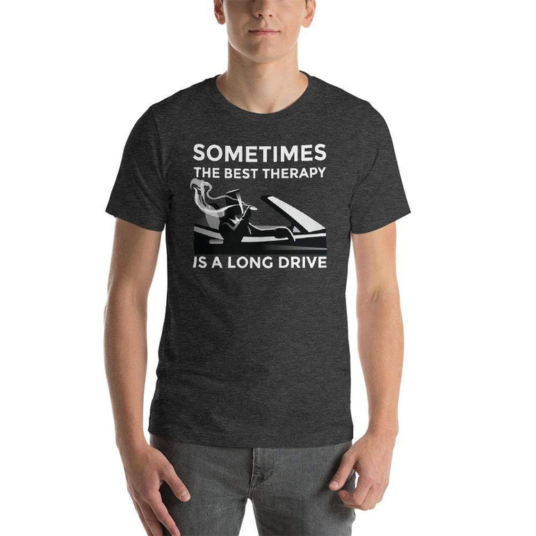mens cigar tshirts Dark Grey Heather / XS Sometimes The Best Therapy Is A Long Drive (v2)
