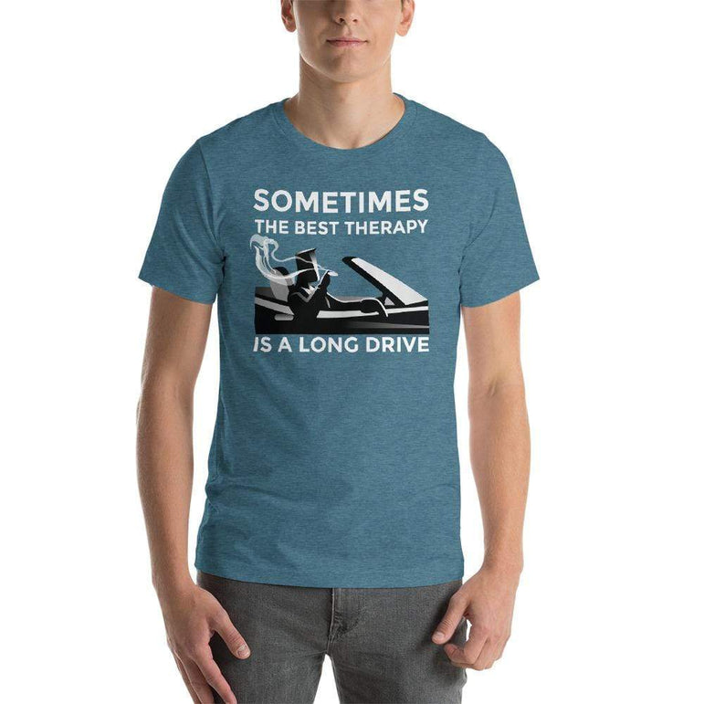 mens cigar tshirts Heather Deep Teal / S Sometimes The Best Therapy Is A Long Drive (v2)