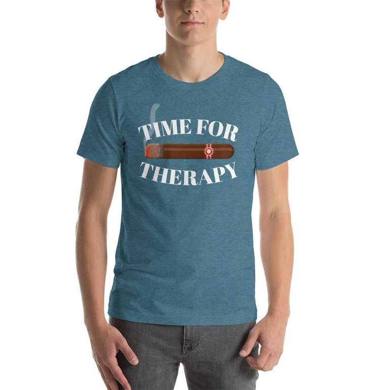 mens cigar tshirts Heather Deep Teal / S Time For Therapy - Cigars (v1)