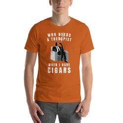mens cigar tshirts Autumn / S Who Needs A Therapist When I Have Cigars (v1)