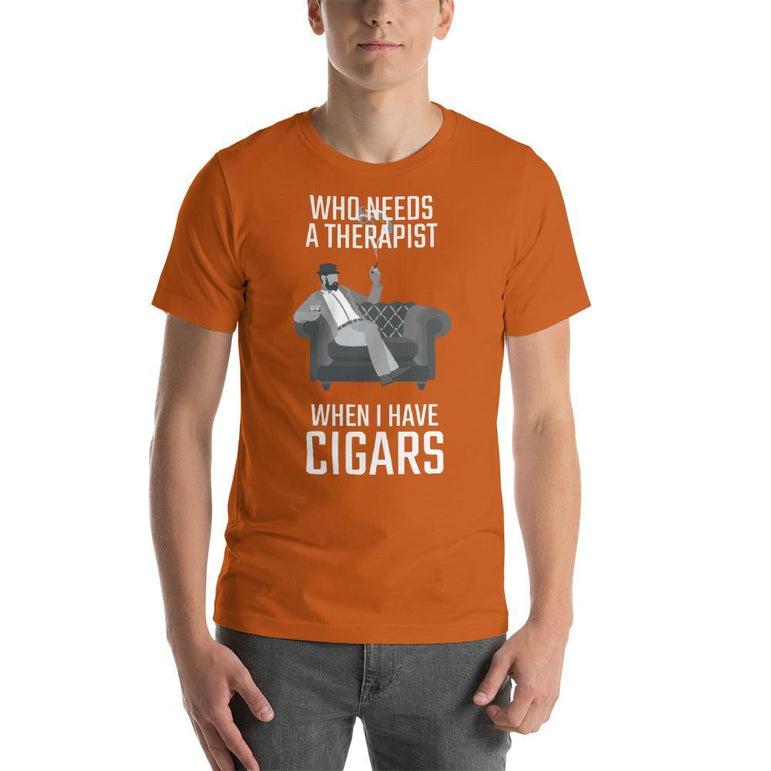 mens cigar tshirts Autumn / S Who Needs A Therapist When I Have Cigars (v2)