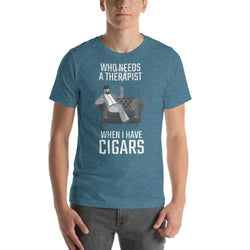 mens cigar tshirts Heather Deep Teal / S Who Needs A Therapist When I Have Cigars (v2)