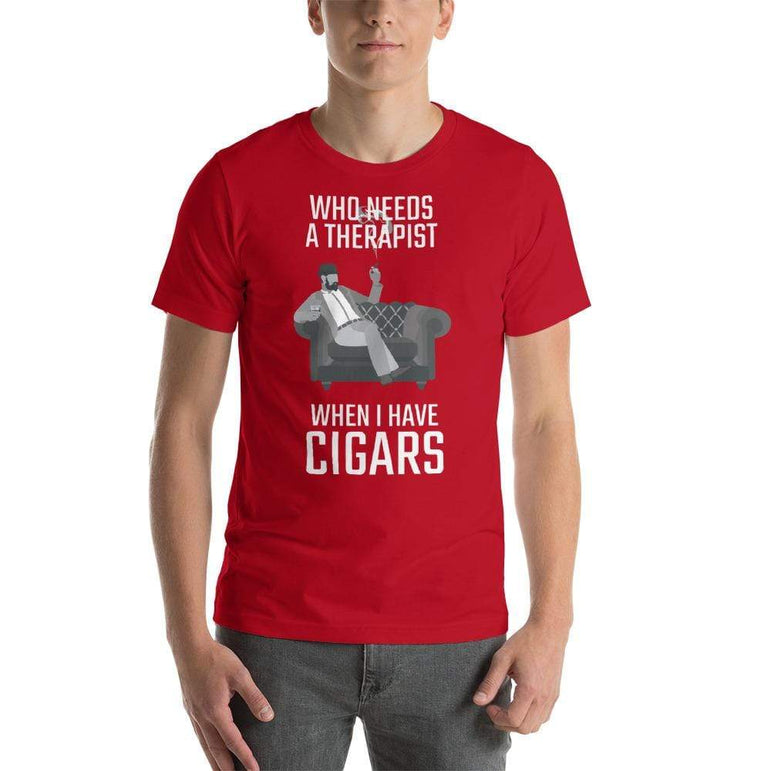 mens cigar tshirts Red / S Who Needs A Therapist When I Have Cigars (v2)