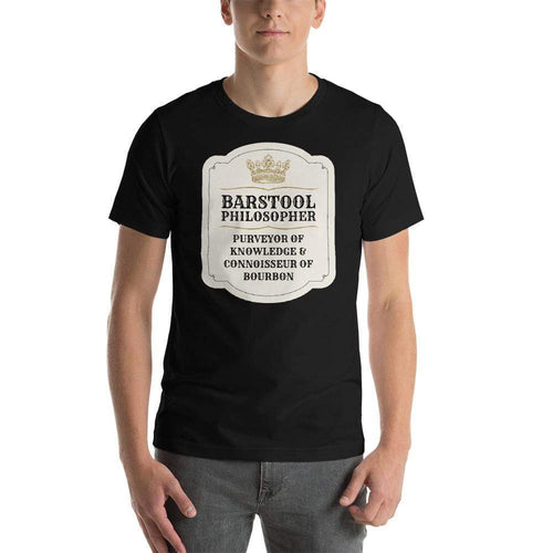 mens liquor tshirts Black / XS Barstool Philosopher, Purveyor Of Knowledge & Connoisseur Of Bourbon (v1)