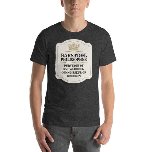 mens liquor tshirts Dark Grey Heather / XS Barstool Philosopher, Purveyor Of Knowledge & Connoisseur Of Bourbon (v1)