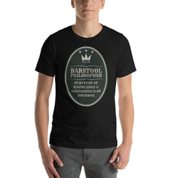 mens liquor tshirts Black / XS Barstool Philosopher, Purveyor Of Knowledge & Connoisseur Of Bourbon (v2)