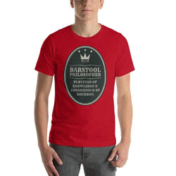 mens liquor tshirts Red / S Barstool Philosopher, Purveyor Of Knowledge & Connoisseur Of Bourbon (v2)