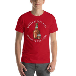 mens liquor tshirts Red / S Liquor Before Beer You're In The Clear (v1)