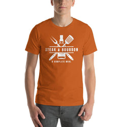 mens liquor tshirts Autumn / S Steak And Bourbon A Complete Meal (v2)