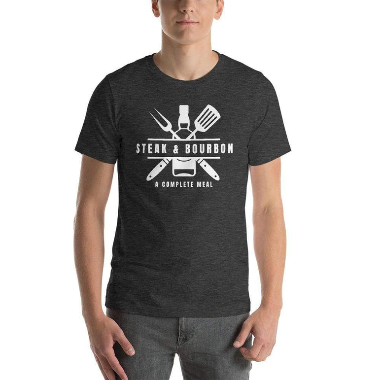mens liquor tshirts Dark Grey Heather / XS Steak And Bourbon A Complete Meal (v2)