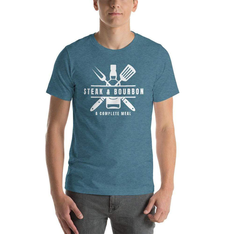 mens liquor tshirts Heather Deep Teal / S Steak And Bourbon A Complete Meal (v2)