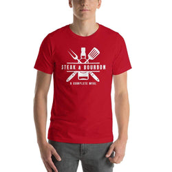 mens liquor tshirts Red / S Steak And Bourbon A Complete Meal (v2)