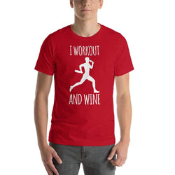 mens wine tshirts Red / S I Workout And Wine (v2)