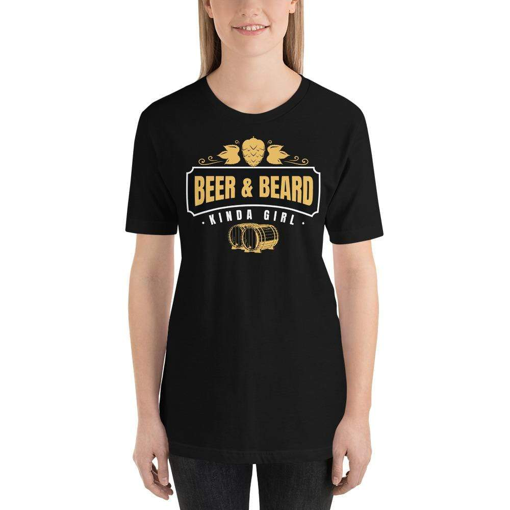 womens beer tshirts Black / XS Beer And Beard Kinda Girl (v1)