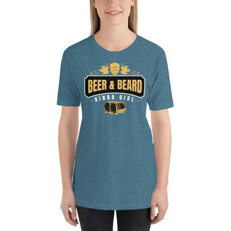 womens beer tshirts Heather Deep Teal / S Beer And Beard Kinda Girl (v1)