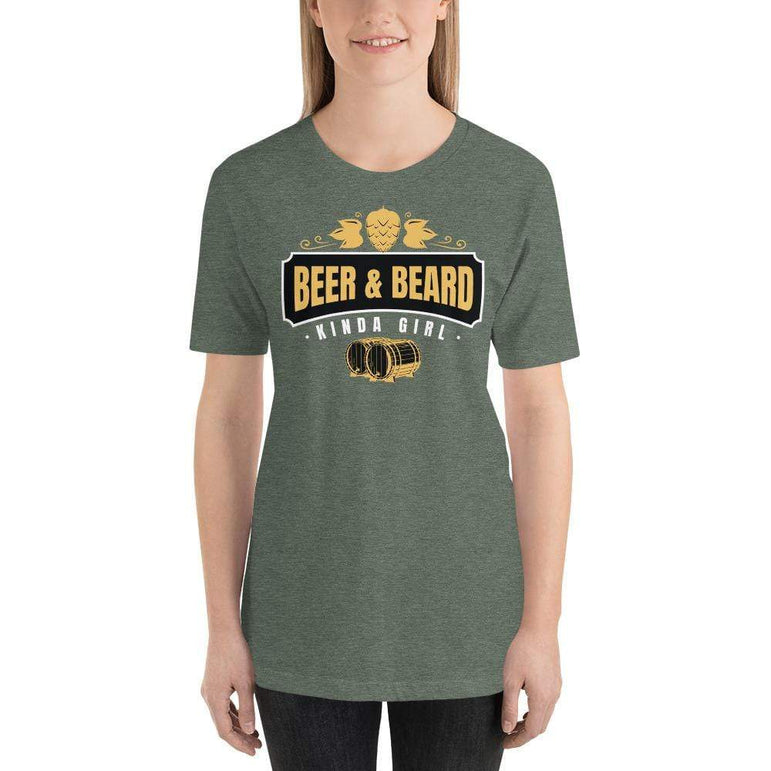 womens beer tshirts Heather Forest / S Beer And Beard Kinda Girl (v1)