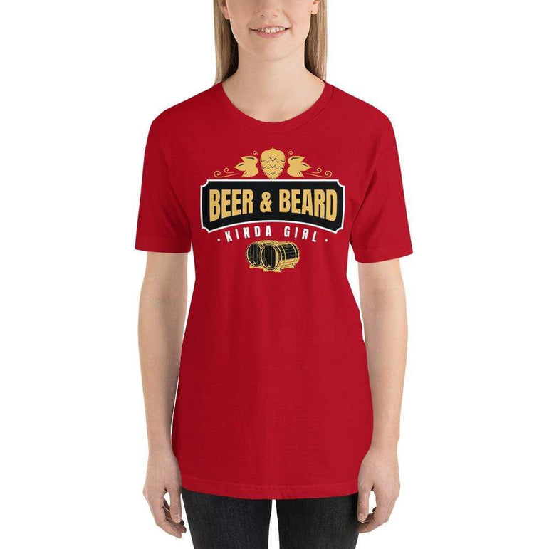 womens beer tshirts Red / S Beer And Beard Kinda Girl (v1)