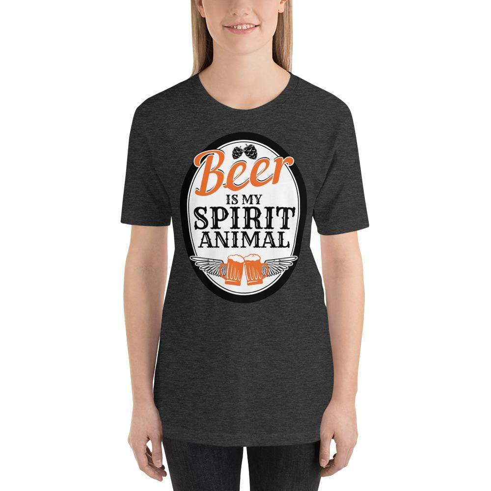 womens beer tshirts Dark Grey Heather / XS Beer Is My Spirit Animal (v1)