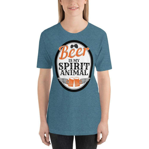 womens beer tshirts Heather Deep Teal / S Beer Is My Spirit Animal (v1)