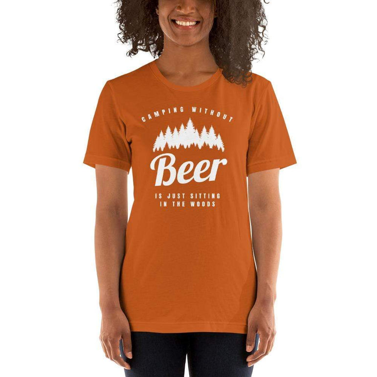 womens beer tshirts Autumn / S Camping Without Beer Is Just Sitting In The Woods (v1)