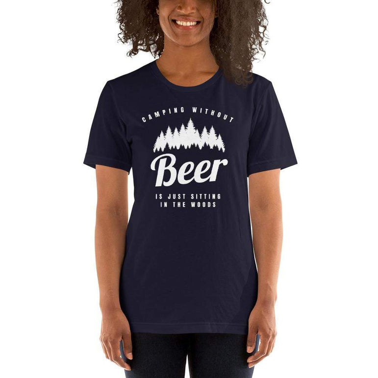 womens beer tshirts Navy / XS Camping Without Beer Is Just Sitting In The Woods (v1)