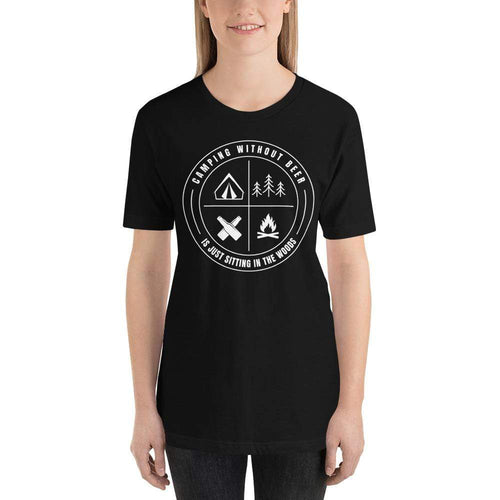 womens beer tshirts Black / XS Camping Without Beer Is Just Sitting In The Woods (v2)