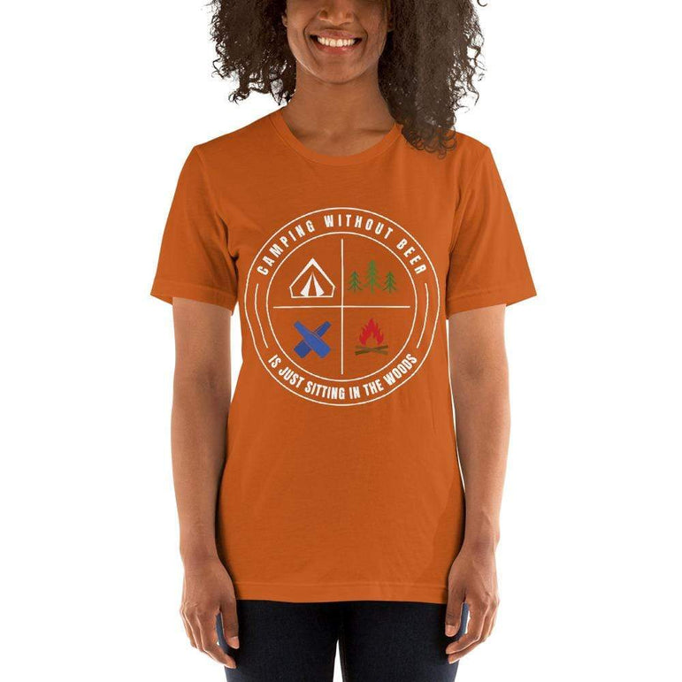 womens beer tshirts Autumn / S Camping Without Beer Is Just Sitting In The Woods (v3)