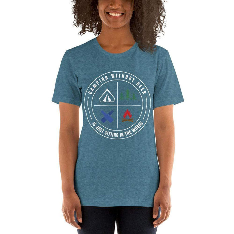 womens beer tshirts Heather Deep Teal / S Camping Without Beer Is Just Sitting In The Woods (v3)