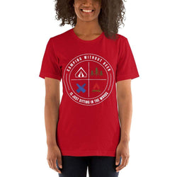 womens beer tshirts Red / S Camping Without Beer Is Just Sitting In The Woods (v3)