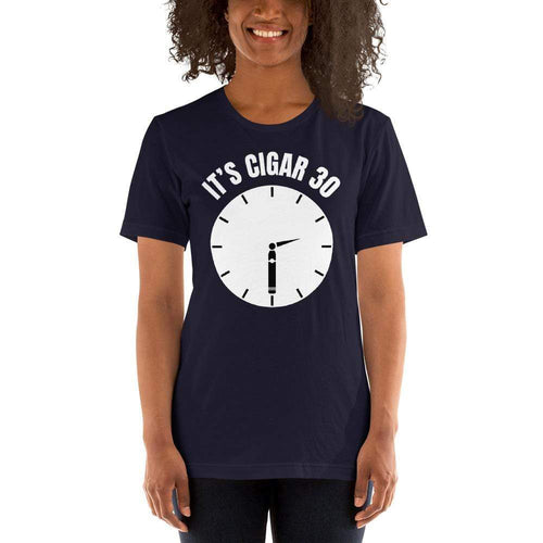 "womens cigar tshirts Navy / XS It's Cigar ""30"" - Clock (v1)"