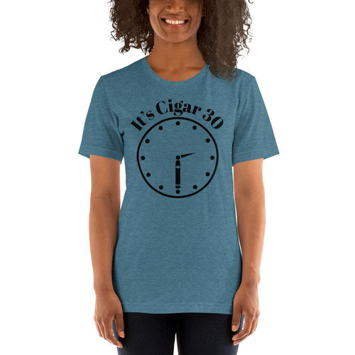 "womens cigar tshirts Heather Deep Teal / S It's Cigar ""30"" - Clock (v2)"