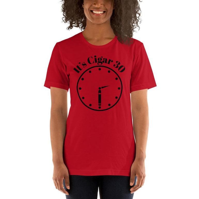 "womens cigar tshirts Red / S It's Cigar ""30"" - Clock (v2)"