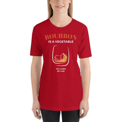 womens liquor tshirts Red / S Bourbon Is A Vegetable (v2)