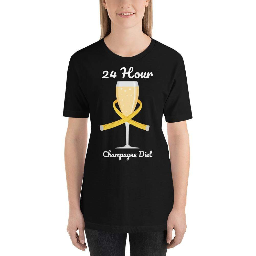 womens wine tshirts Black / XS 24 Hour Champagne Diet (v1)