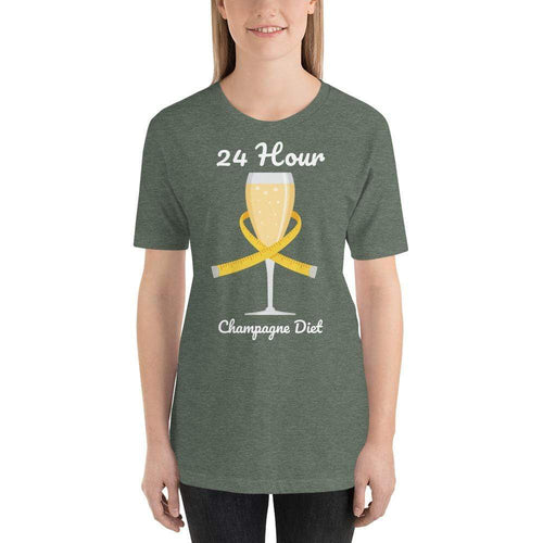 womens wine tshirts Heather Forest / S 24 Hour Champagne Diet (v1)
