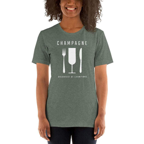 womens wine tshirts Heather Forest / S Champagne - Breakfast Of Champions (v1)