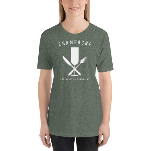 womens wine tshirts Heather Forest / S Champagne - Breakfast Of Champions (v2)